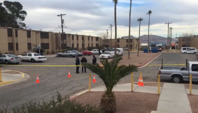 Shooting scene at apartment complex